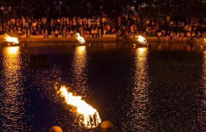 Waterfire in the basin in Providence