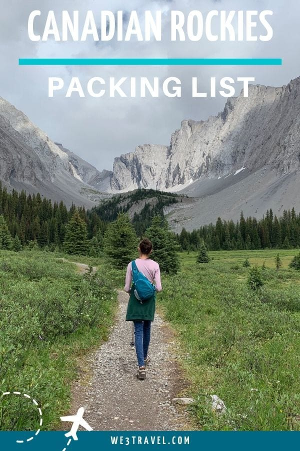 Canadian Rockies packing list Banff packing list girl walking on path into mountains