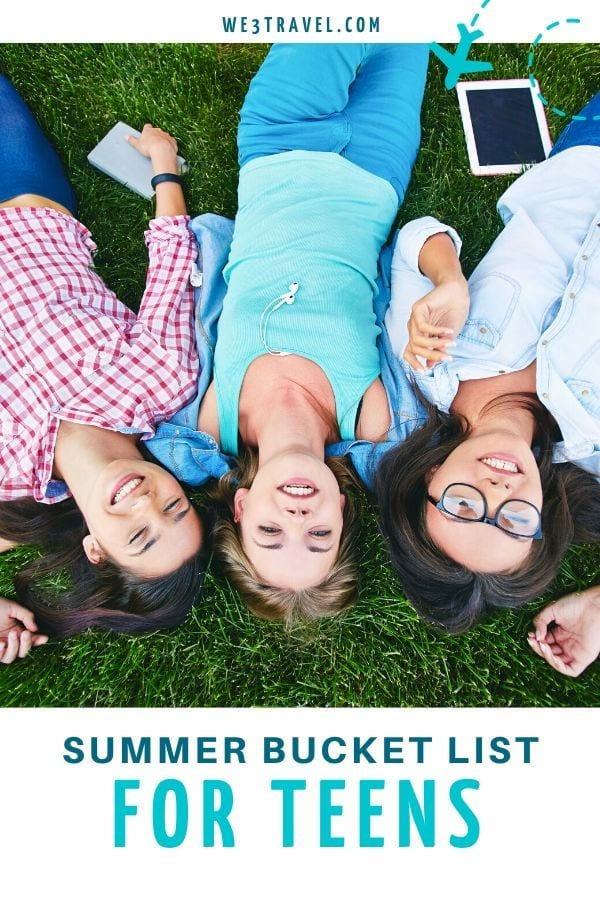 Summer bucket list for teens with three teen girls laying on grass
