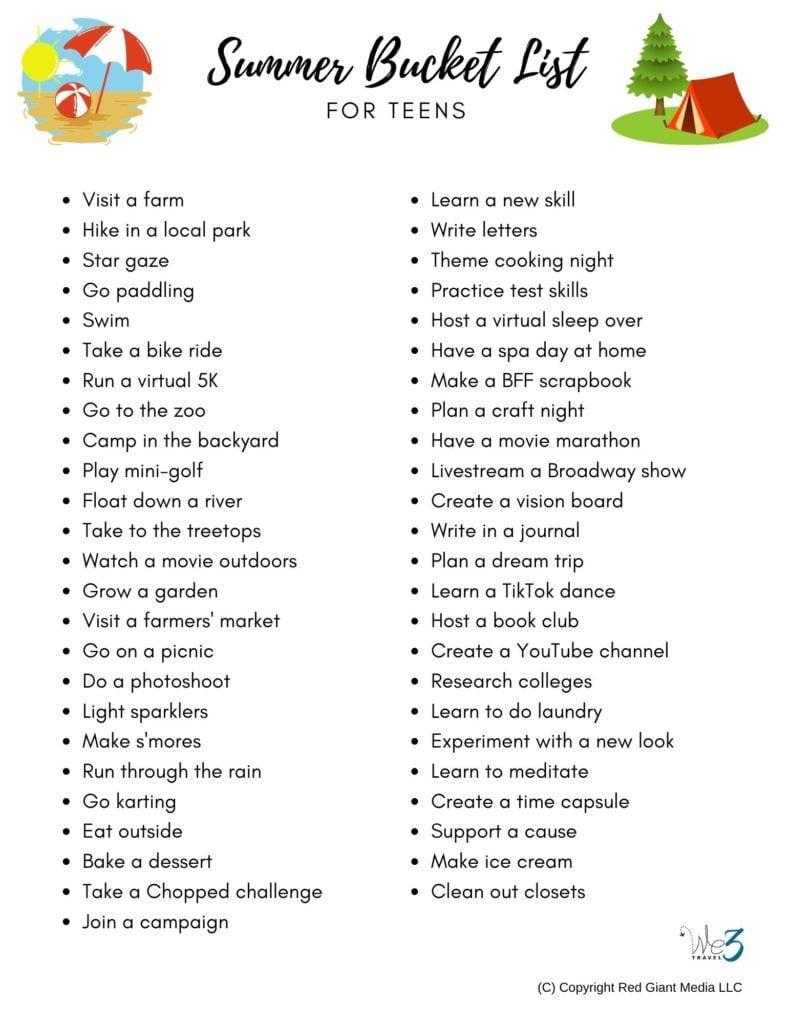 Summer bucket list for teens printable