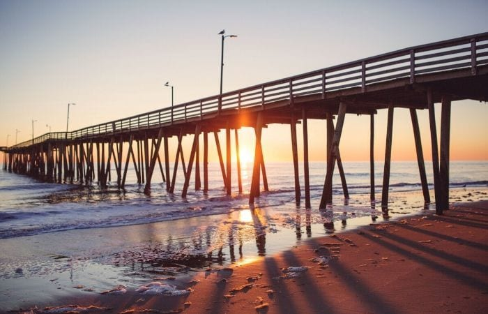Virginia beach pier at sunrise