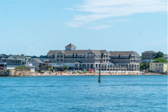 Beauport hotel from the water in Gloucester MA