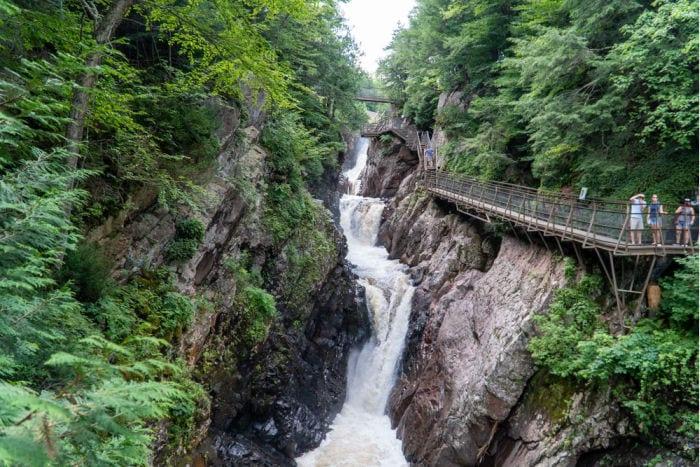 waterfalls and walkway at High Falls Gorge