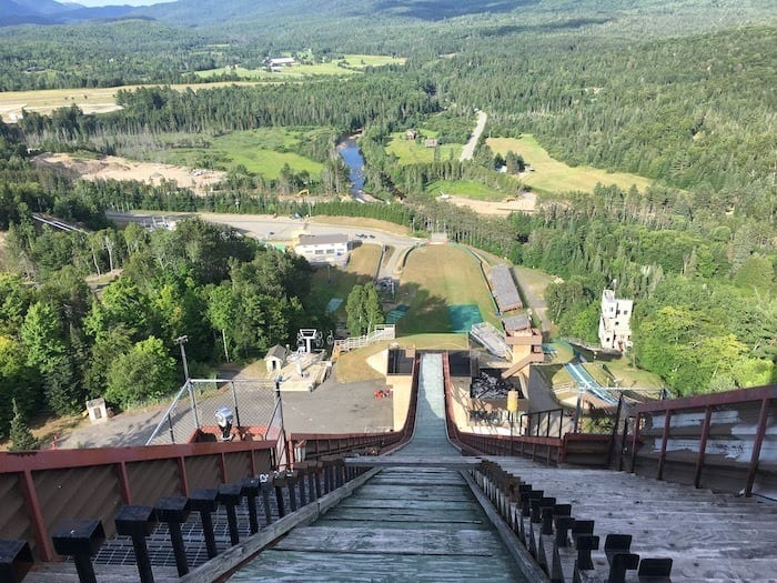 Looking down the olympic ski jump in Lake Placid to the view below