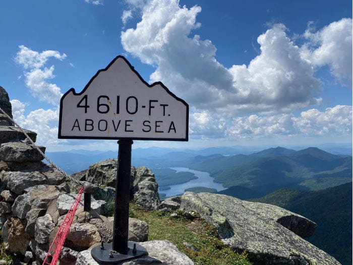 Whiteface 4610 feet above sea level sign