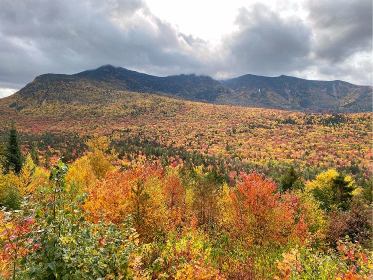 Kancamagus Highway view of the mountains in the fall