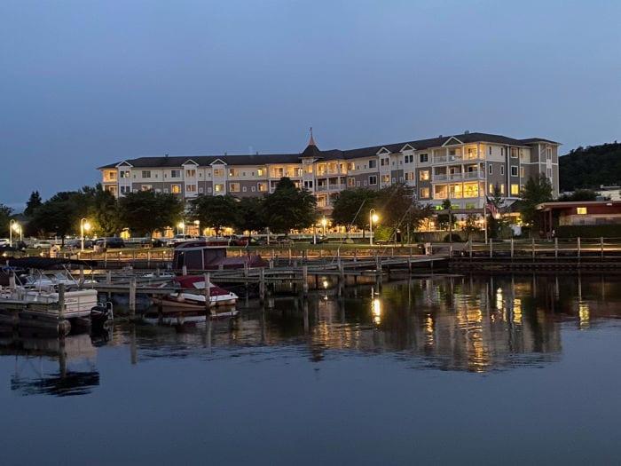 Watkins Glen Harbor Hotel at night from the pier