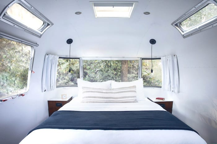 Airstream bedroom with queen bed