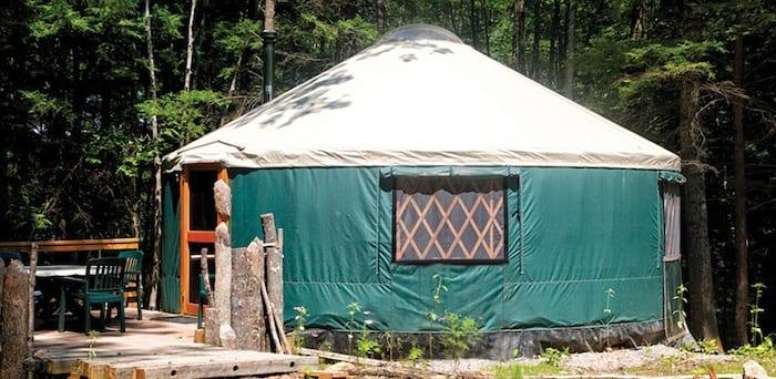 Green yurt with cream color top, Fisher Ridge Yurt at Maine Forest Yurt
