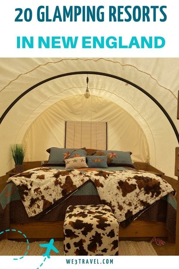 20 Glamping Resorts in New England showing interior and bed of Conestoga wagon