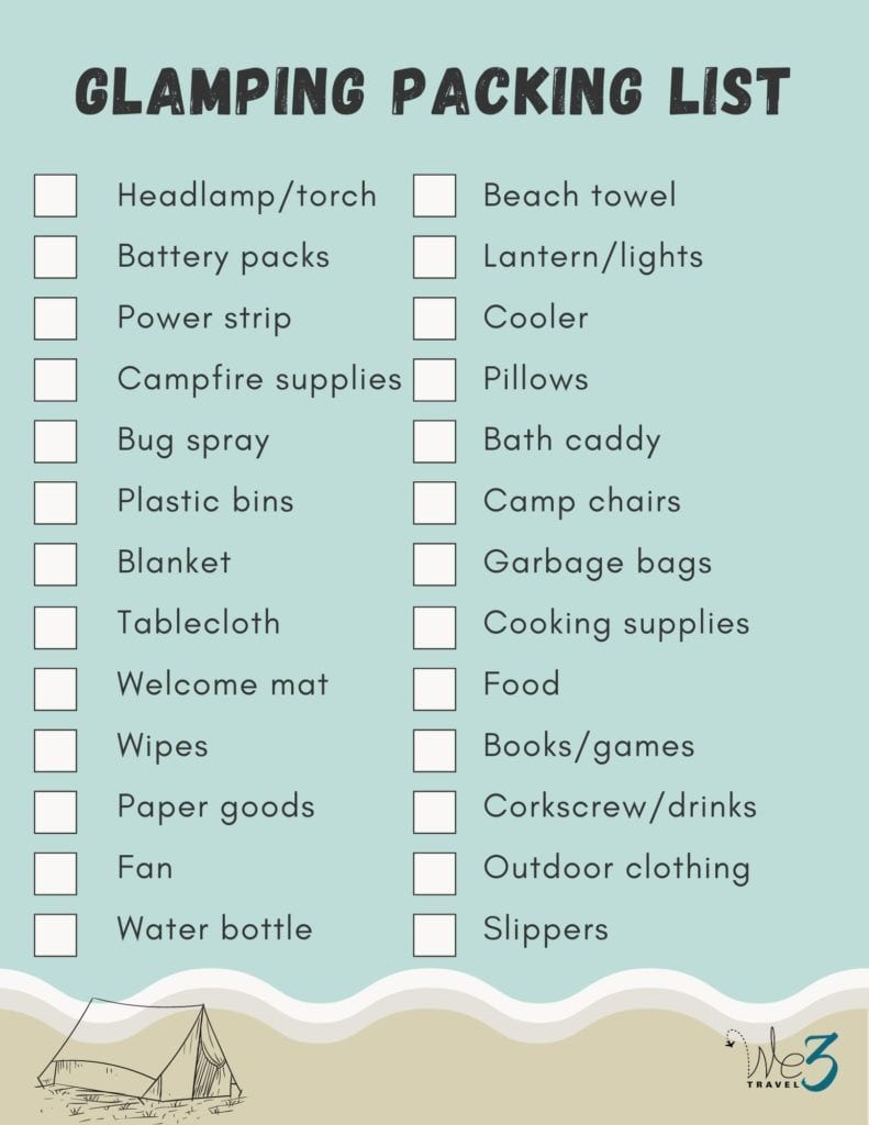 Glamping packing list printable