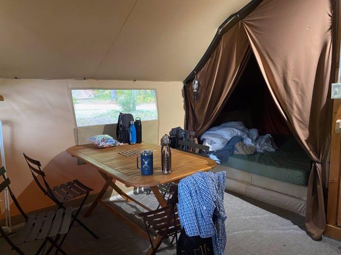 Huttopia trapper tent inside