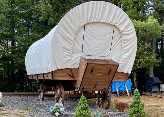 KOA Conestoga wagon from the outside