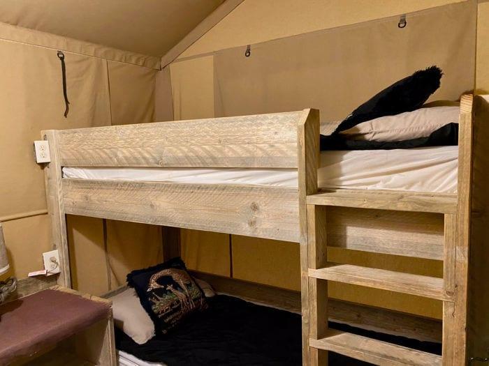 KOA glamping tent bunk beds