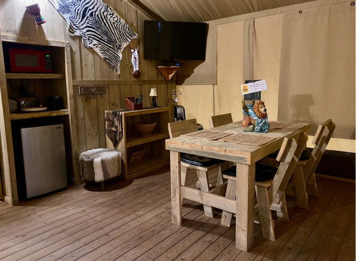 KOA glamping tent dining area
