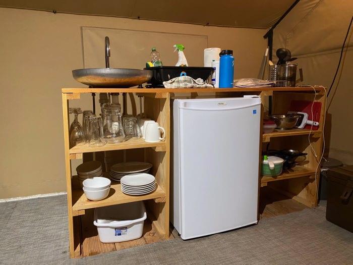 Huttopia Trapper Tent kitchen