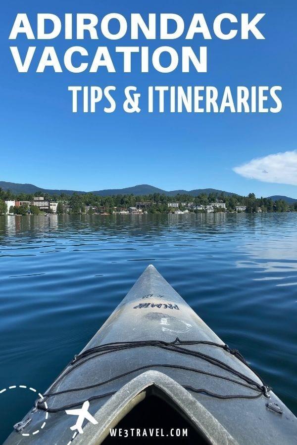 Adirondack vacation tips & itineraries kayak on Mirror Lake in Lake Placid