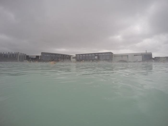 Blue Lagoon water and buildings in Iceland