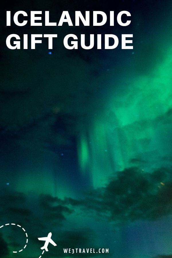Icelandic Gift Guide on the green northern lights background
