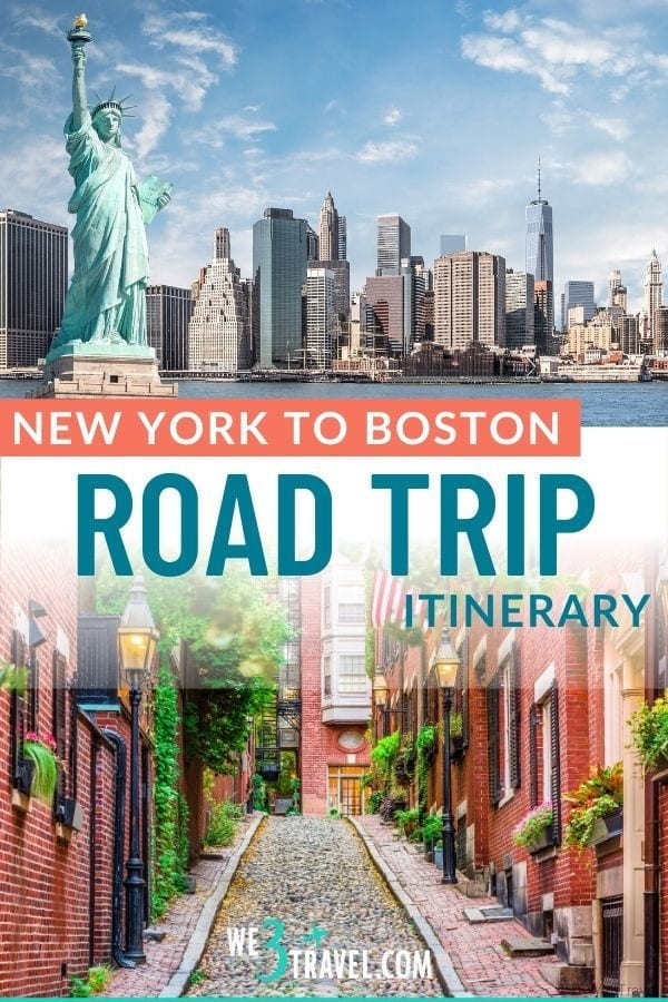 New York to Boston road trip with NYC skyline and statue of liberty on top and Boston cobblestone street on the bottom