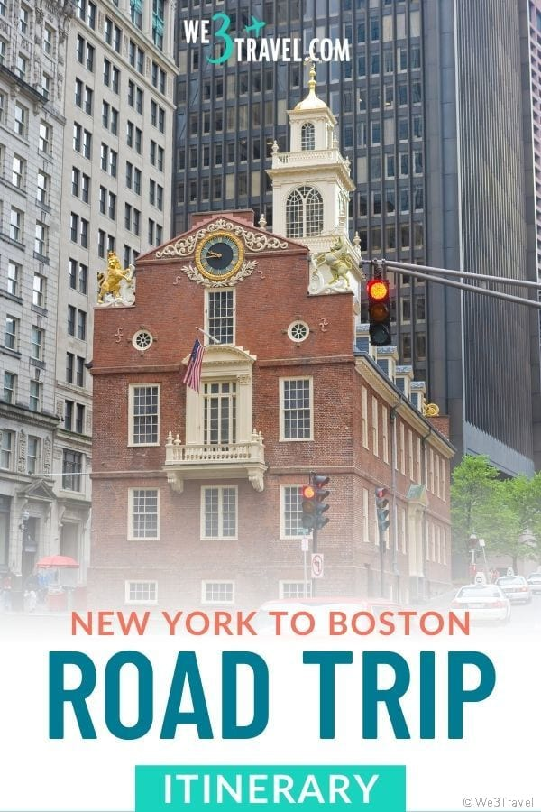 New York to Boston road trip itinerary with Boston building
