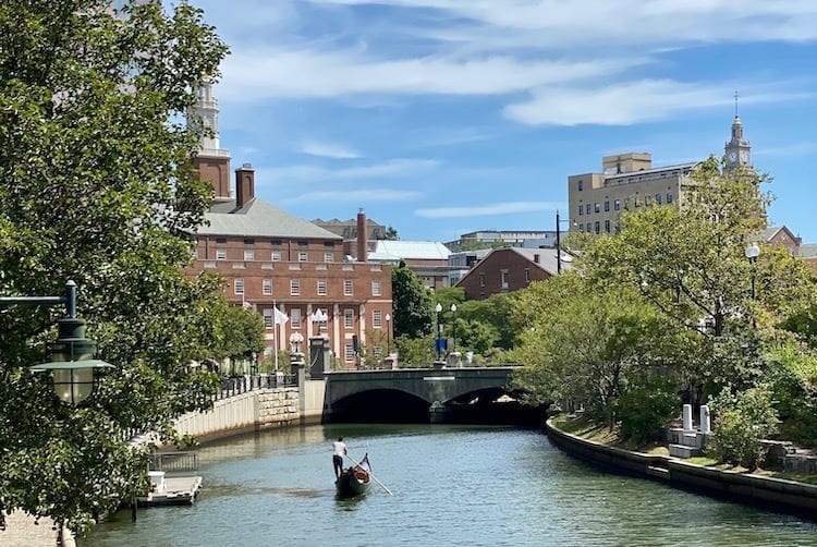 River in downtown Providence with gondola