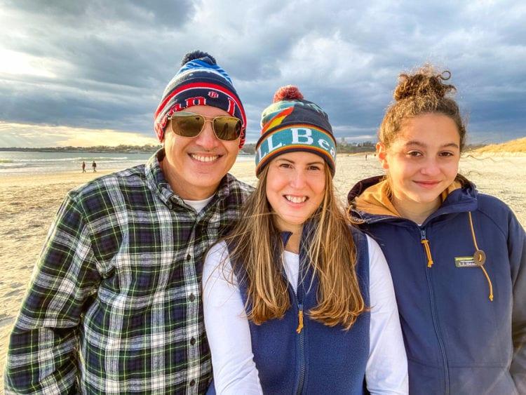 Family in LL Bean gear on the beach