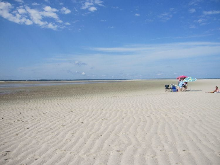 Chapin's Beach on Cape Cod with a family under an umbrella