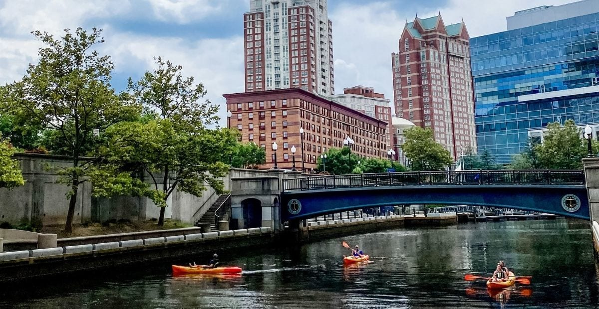 Kayaks in the river in downtown Providence