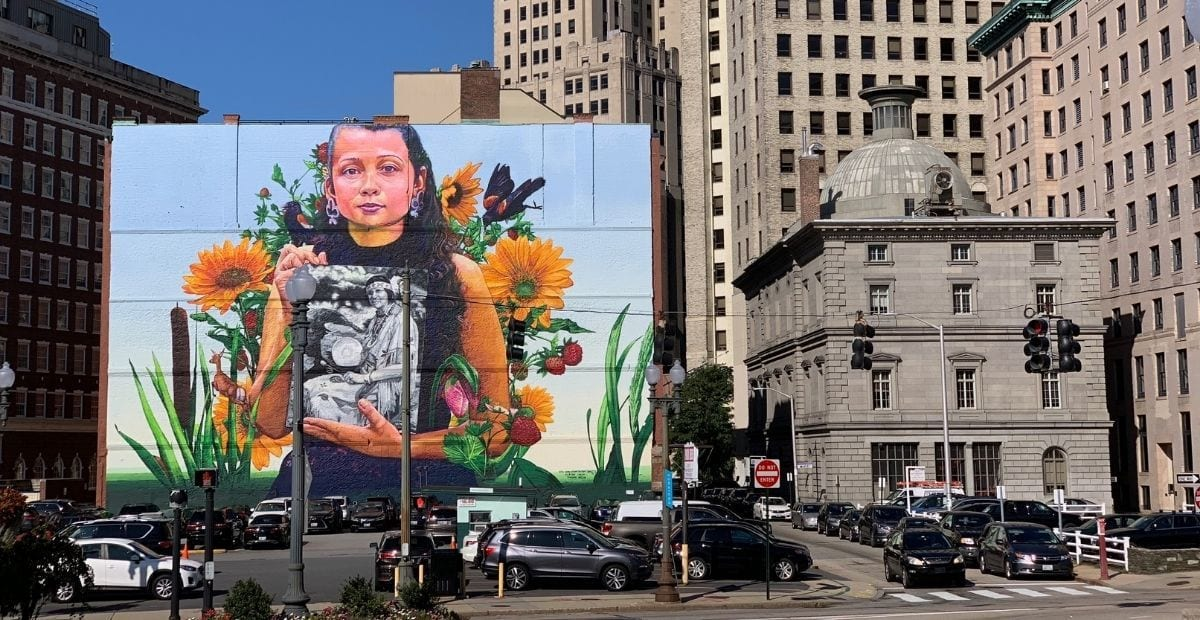 Still here mural by Gaia in Providence