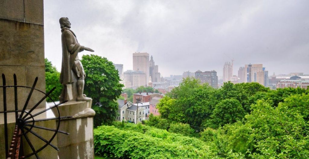 Statue of Roger Williams overlooking Providence in Prospect Park from Canva