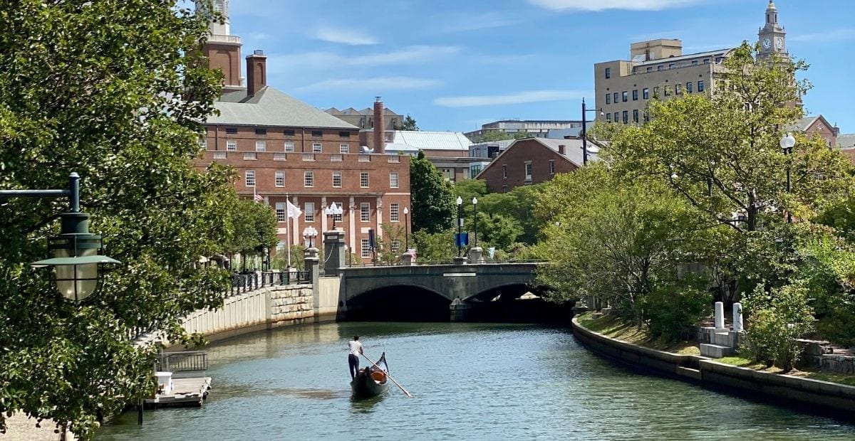 Providence river with a gondola and a bridge