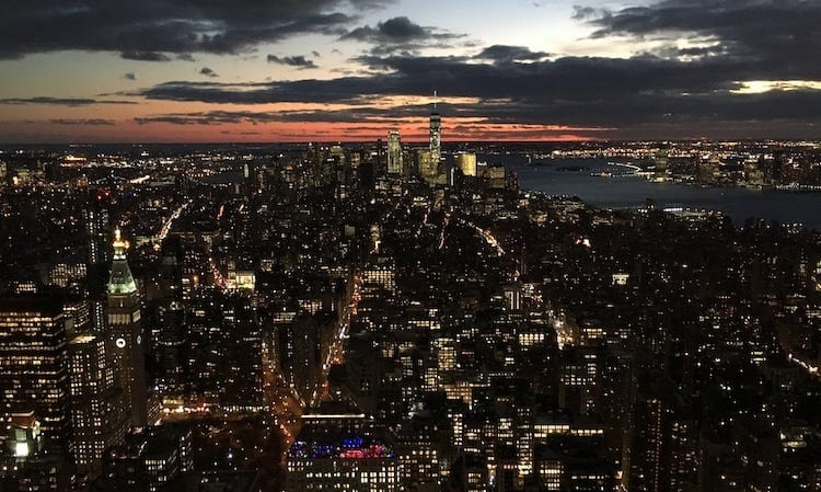 View of lower Manhattan at sunset from the Empire State building
