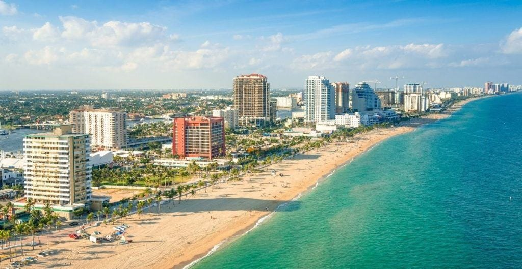 Fort Lauderdale beach with high rise hotels and ocean