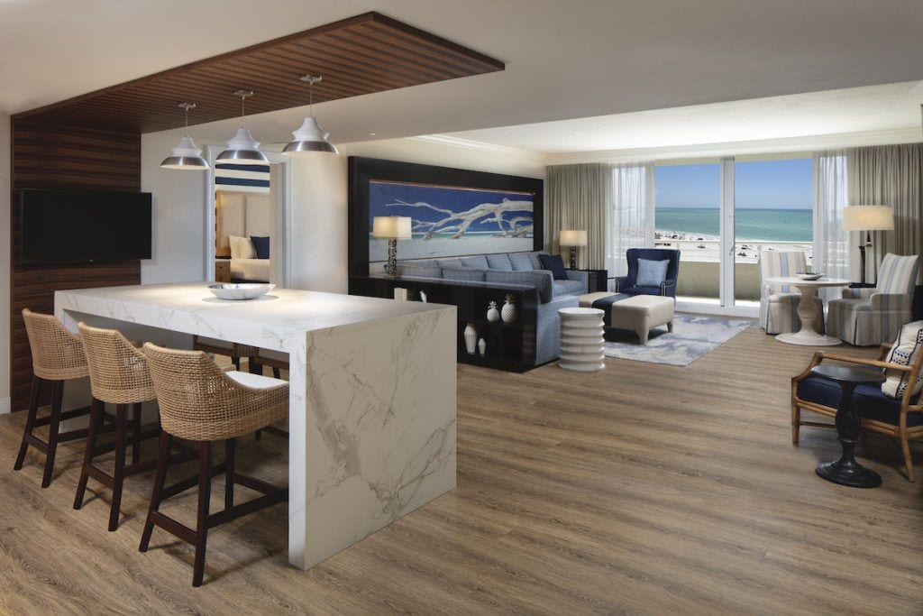 Two bedroom suite at the Resort at Longboat Key Club, living room and breakfast bar with view of the ocean