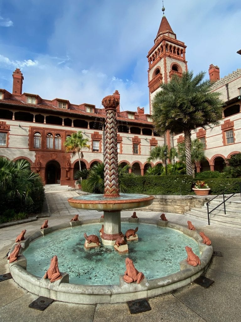 Flagler College fountain and bell tower