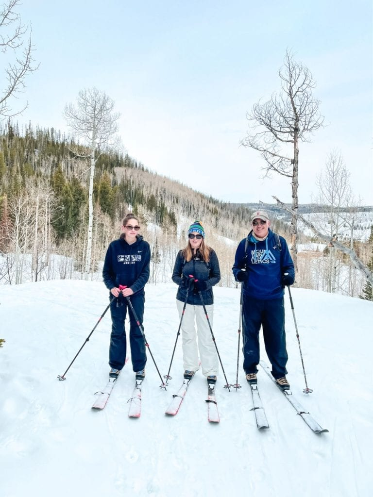 Family on cross country skis