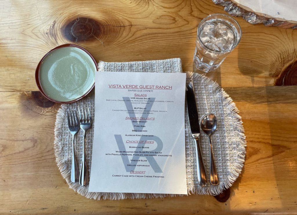 Vista Verde ranch place setting and menu