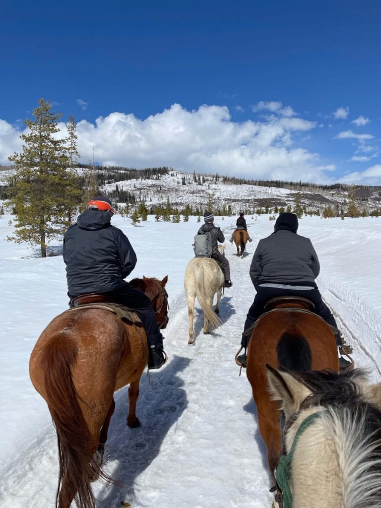 Horse trail ride through the snow