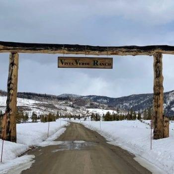 Vista Verde Ranch entrance sign in the snow