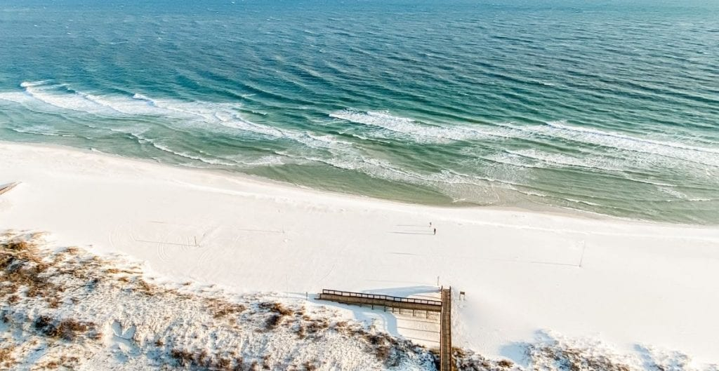 View of Gulf of Mexico and pier from above