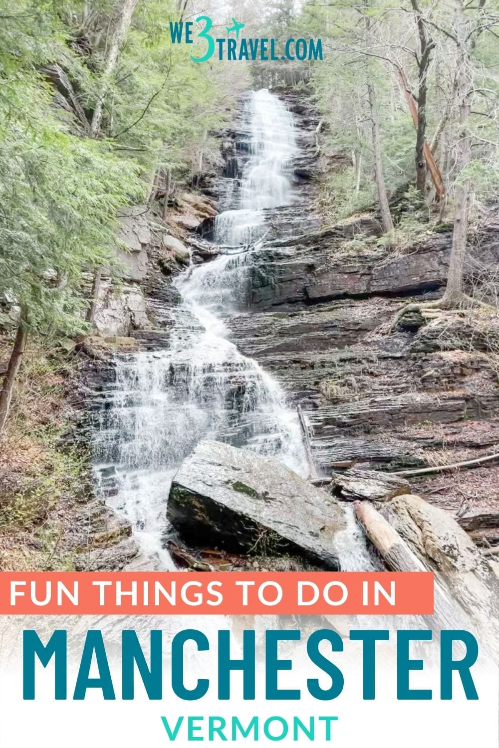 Fun things to do in Manchester Vermont pinterest image with Lye Brook waterfall