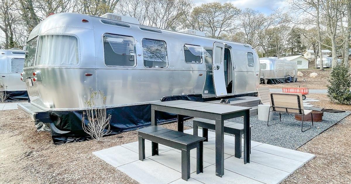 Airstream trailer and picnic area