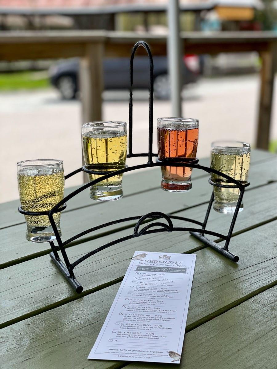 Hard cider tasting flight at Cold Hollow Cider Mill
