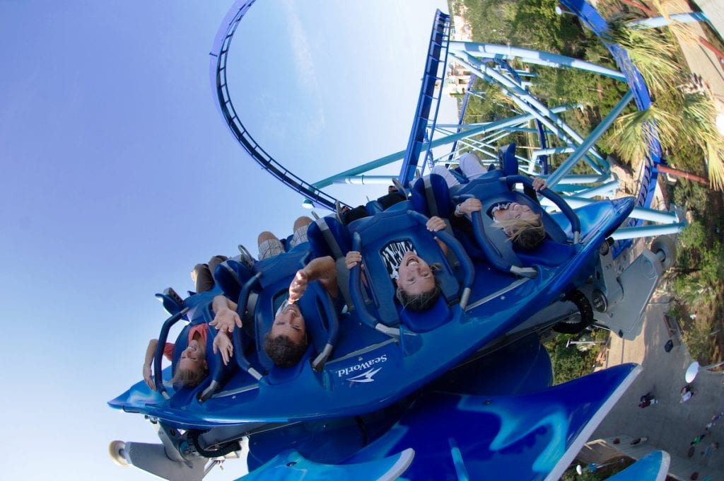 People flipped upside down on the Manta roller coaster at SeaWorld Orlando