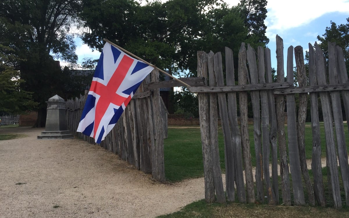 Historic Jamestowne fort and flag