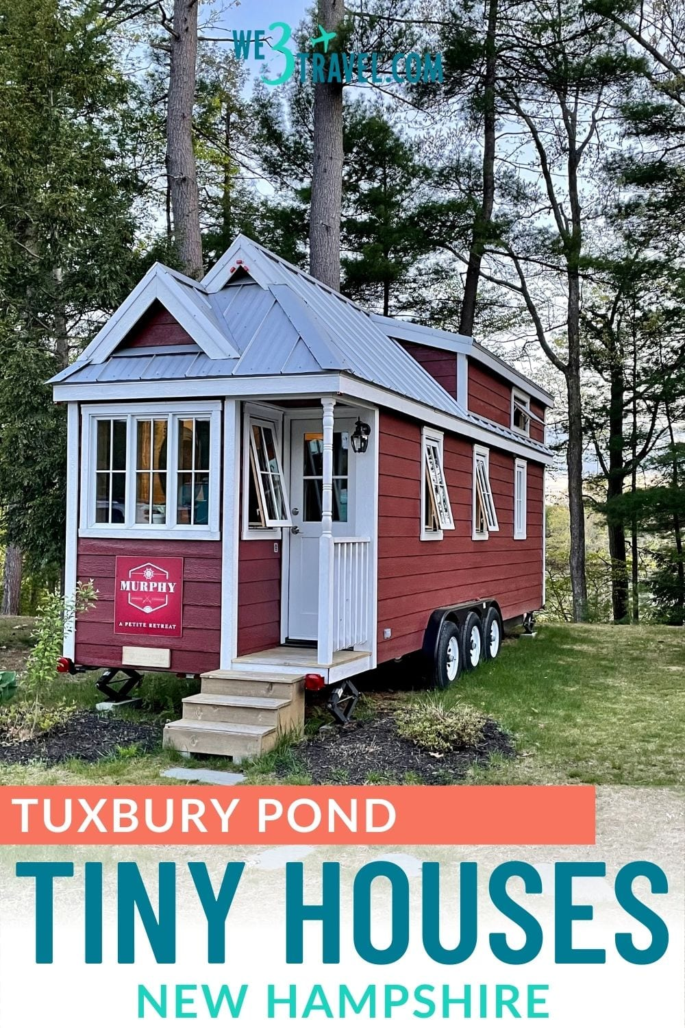 Tuxbury Tiny House Village in NH - Murphy red and white tiny house on wheels