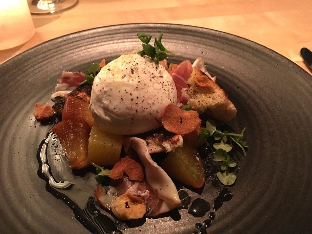 Burrata and peaches dish at Union Restaurant