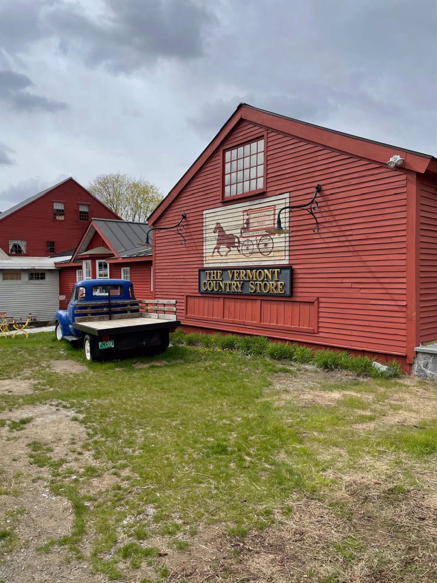 Vermont country store with blue truck
