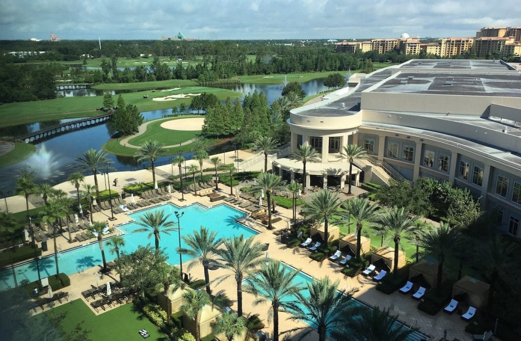 View of pool and golf course from the Waldorf Astoria Orlando